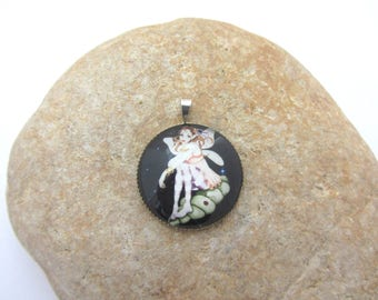 Pendant with glass fairy cabochon