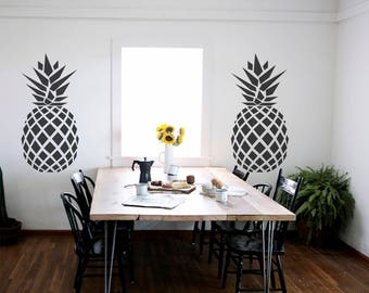Pineapple Pattern Apple Wall Decals-Big Pineapple decals-Dining Wall Stickers-Fruit Vinyl Sticker-Pattern Wall Decals-Pineapple Wall Decal
