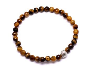 Semi precious Tiger eye 4mm and silver Bead Bracelet