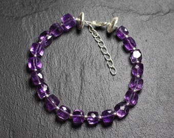 Bracelet 925 sterling silver and stone - Amethyst Cubes faceted 5-6mm