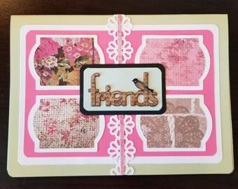 Handmade Friendship Greeting Card. For a friend. Thinking of you. Congratulations. Encouragement. Scrapbook original.