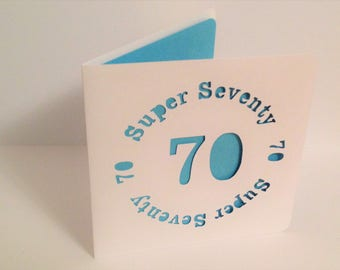 Super Seventy 70 Papercut Greetings Card - 70th Birthday/Anniversary