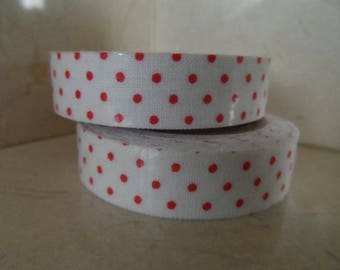 1 roll of adhesive fabric white with red polka dots 5 meters