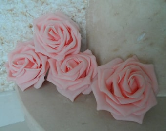 set of 4 appliques rose flowers powder 8cms sewing or craft