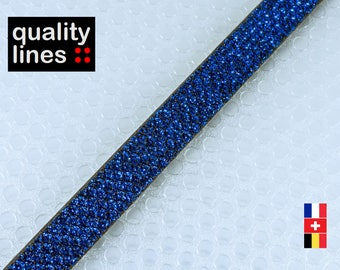 X 18CM - flat leather 10mm Royal blue glitter, 18cm is enough for a XL bracelet, max one holding 1 m