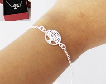 Tree of Life 925 Stamped Silver Plated Chain Bracelet