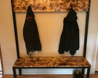 Handmade Industrial Style Wooden Bench and Coat Rack