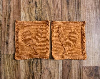 Knit Rooster Washcloth - Dishcloth - Set of 4