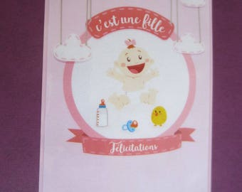 Baby girl card or baby shower girl