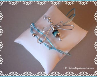 Costume jewelry: small Dragonfly beaded gray and blue