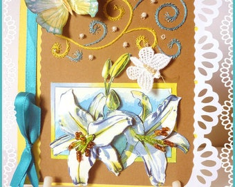 Card any occasion: embroidery and 3D lilies