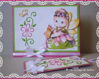Child card: embroidery and little fairy