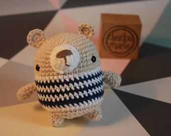"""""""It ' bear"""" 100% cotton Crochet Amigurumi rattle toy"""
