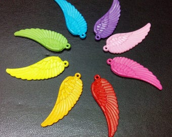 8 melage color 58mm Angel Wings charms