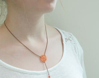 Necklace, copper bronze and rose Mandarin - homemade