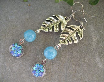 Earrings, cabochon flower and blue quartz beads