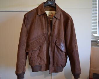 Vintage 1970's/80's Leather Aviator Bomber Burma Run Brown Jacket Size Small