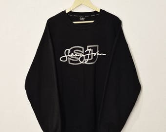RARE!! Vintage Sean John Spell Out Embroidery Front and Back Sweatshirt Jumper Pullover Sweater Hoodies Hip Hop Swag