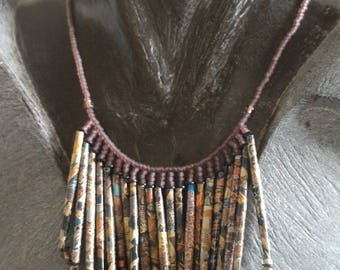 Purple dominant necklace recycled paper