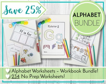 Alphabet Worksheets Discount Bundle, ABC Printables, Preschool & Kindergarten Learning, Teaching Education Resource, Kids Activities,