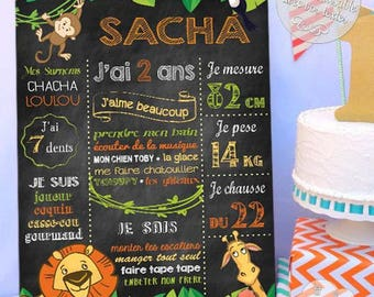 """""""Picture / poster customizable birthday Jungle slate""""-for a custom decoration"""