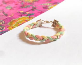 Bracelet 3-5 years girl pastel Marshmallow braided suede