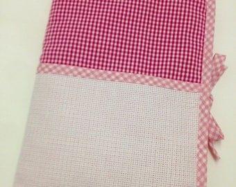 Health book has cross-stitch aida pink gingham choice