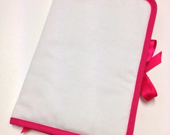 Health Book personalize flocking, applique etc. White color fabric outline choice.