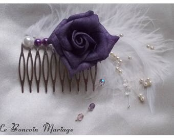 Bridal hair comb made with a purple rose, and half pearls/feather and pearls swarovski Bohemian
