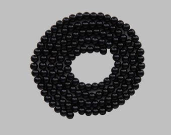 100 round beads wire glass Pearl 8mm black