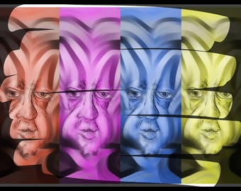 Abstract Art Print. Alien Faces
