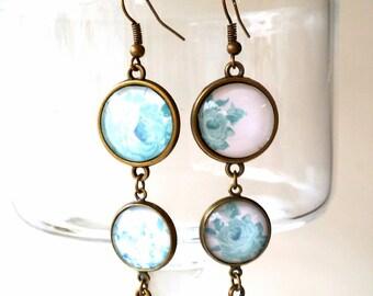 Earrings pendants #garden in blue1 # romantic and retro vintage
