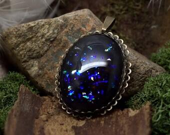 "Pendant ""Brightness of night"" blue black Cabochon"