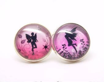 Fairy earrings - Rose - dancing fairies - glass Cabochon