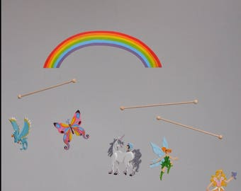 Mobile faerie princess wooden fairy, butterfly, Unicorn, bird of paradise and Rainbow