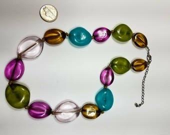 vintage glass necklace/choker