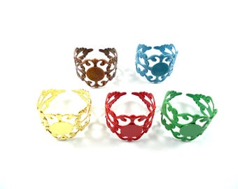 5 supports of multicolored filigree ring finger rings