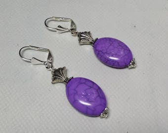 Purple imitation turquoise earrings