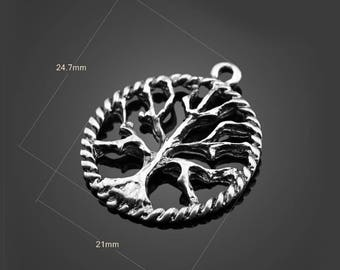 30pcs 25*21mm Antique Silver Tree Charms Alloy Pendants Setting Jewelry Metal Findings Handmade Supplies Wholesale YZ-12961