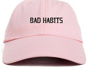 Bad Habits  Dad Hat Adjustable Baseball Cap New - Pink