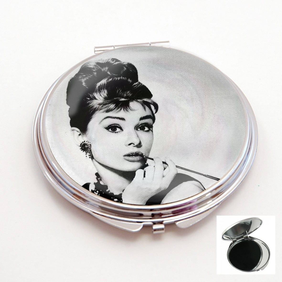 Miroir de poche cabochonaudrey hepburn pin upnoir et blanc for Miroir de poche
