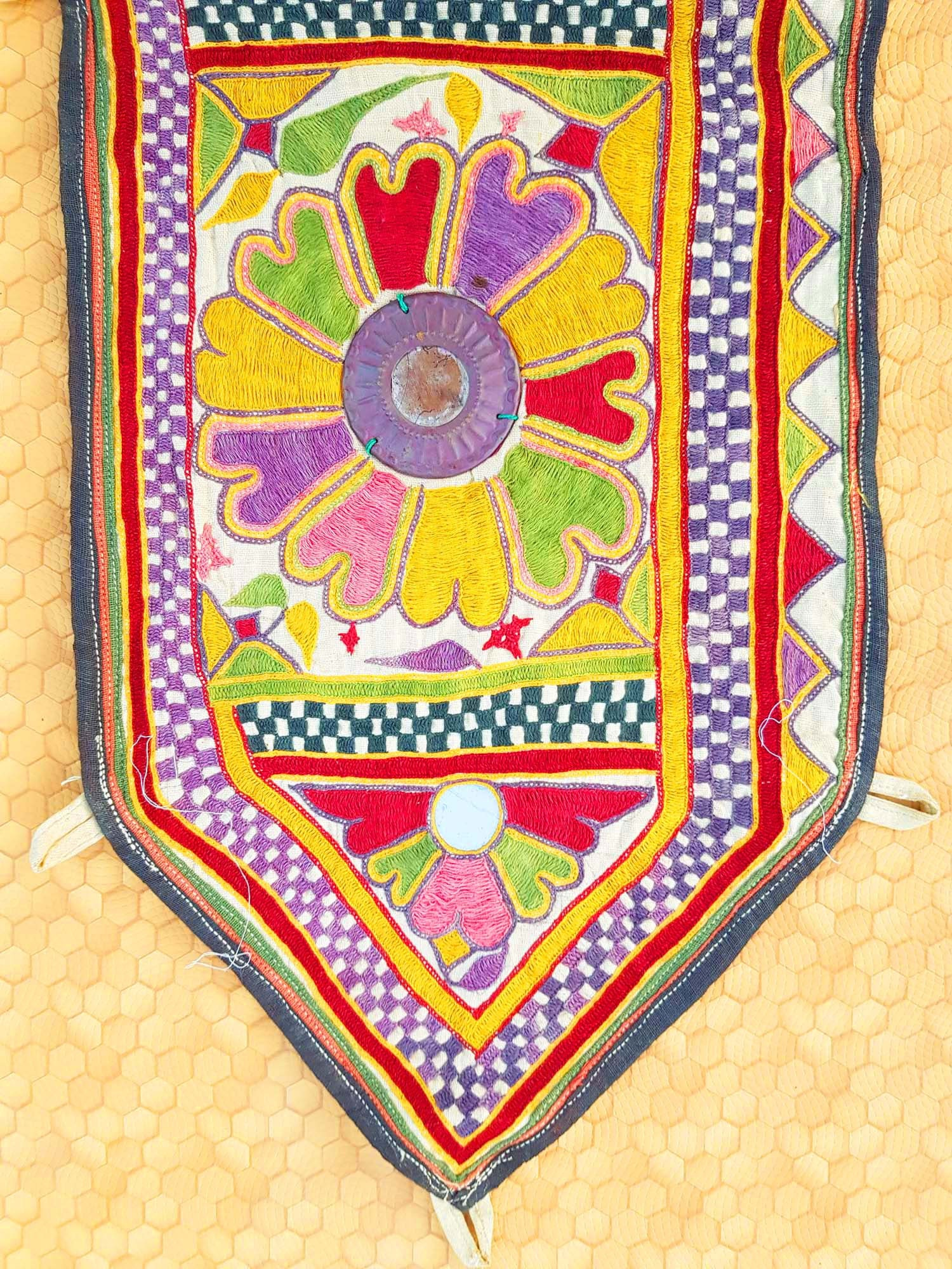 Vintage India Gujarat Kutch mirror embroidery Rare,boho Gypsy Decor ...