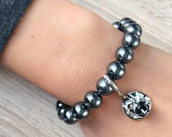 Natural Hematite bracelet with Swarovski crystals