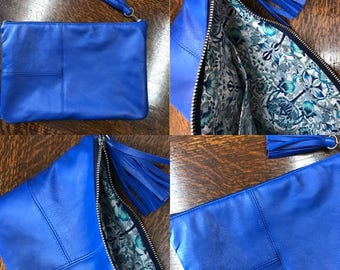 Cobalt blue genuine leather clutch bag