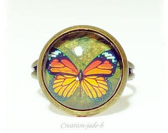 Adjustable ring - Butterfly Cabochon yellow and Orange