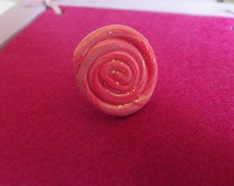 Ring size 57 polymer clay and metal