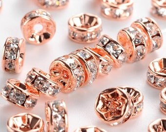 1 set of 5 spacer rings with Rhinestones in rose gold metal, 6 mm diameter, free shipping in france