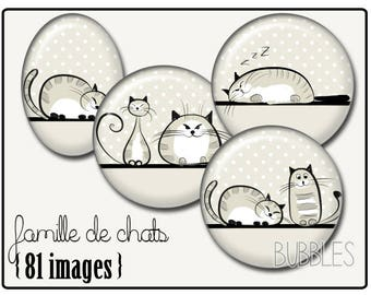 Cats Printable Images Digital Collage Sheet for Jewelry Making - Digital collage sheets