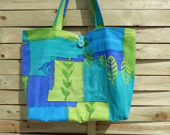 Great tote for summer or Beach Lagoon blue and green