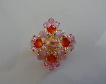 Ring sunset Swarovski Crystal beads and Murano bead